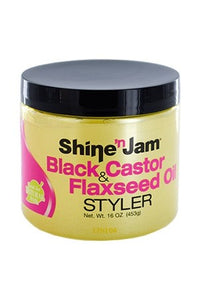 Ampro Shine n Jam Black Castor and Flaxseed Oil Styler 16oz