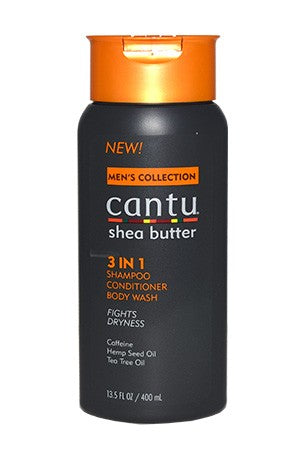 Men's Shea Butter 3 in 1 Shampoo Conditioner Body Wash 3.5oz, For Men