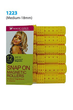 Magic Snap On Magnetic Rollers 12pc Medium
