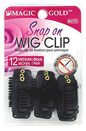 Wig Clip (Snap On) Medium Pk of 12 Pces