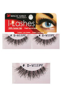 I-Lashes 100% Human Hair Eyelashes #D-Wispy Black