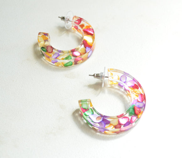 Multi Color Hoop Earrings, Statement Earrings, Shell Earrings, Colorful Large Earrings