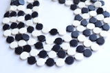 Black White Statement Necklace, Wood Beaded Necklace, Multi Strand - Charlotte