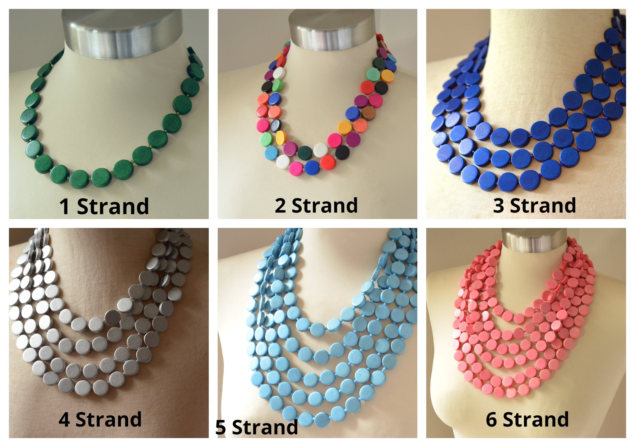 Charlotte Green Statement Necklace Rubber Multi Strand Necklace Gifts For Women