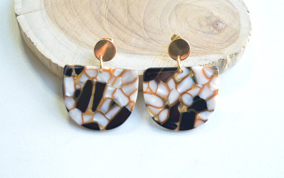 Black Ivory Statement Earrings, Gold Lucite Earrings, Terrazzo Earrings, Gifts For Her - Nora
