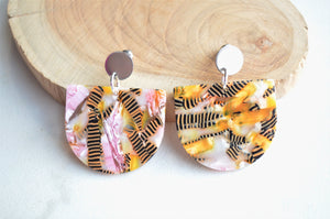 Pink Yellow Statement Earrings - Lucite Terrazzo Earrings  - Nora