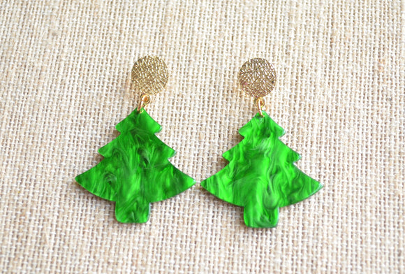 Christmas Statement Earrings, Green Tree Earrings, Acrylic Earrings, Gift For Her