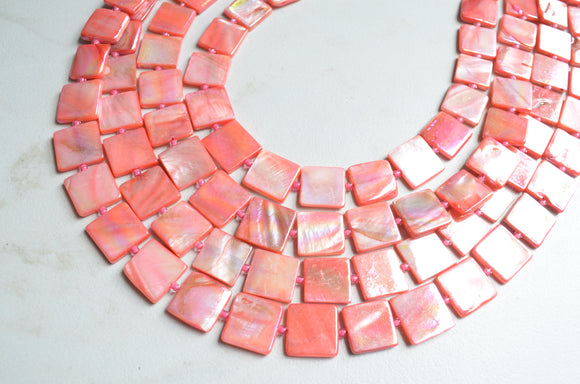 Pink Statement Necklace, Shell Necklace, Beaded Chunky Necklace - Tegan