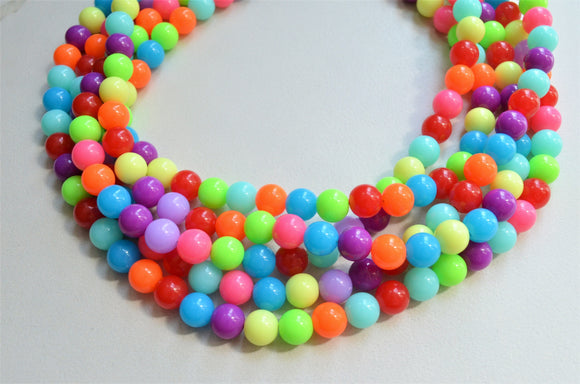Neon Statement Necklace, Multi Color Necklace, Chunky Bead Necklace - Alana
