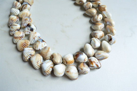 Shell Statement Necklace, Bead Necklace, Chunky Necklace, Multi Strand Necklace - Ariel