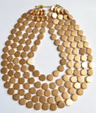 Gold Wood Bead Multi Strand Chunky Statement Necklace - Charlotte