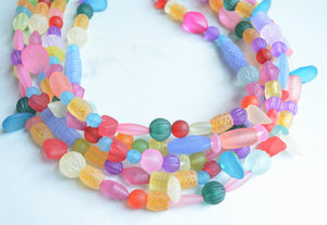 Multi Color Statement Necklace, Lucite Necklace, Chunky Bead Necklace