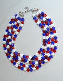 red white blue statement necklace