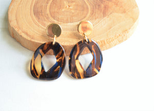 Black Blue Statement Earrings, Animal Print, Lucite Earrings, Acrylic Earrings, Gift For Her