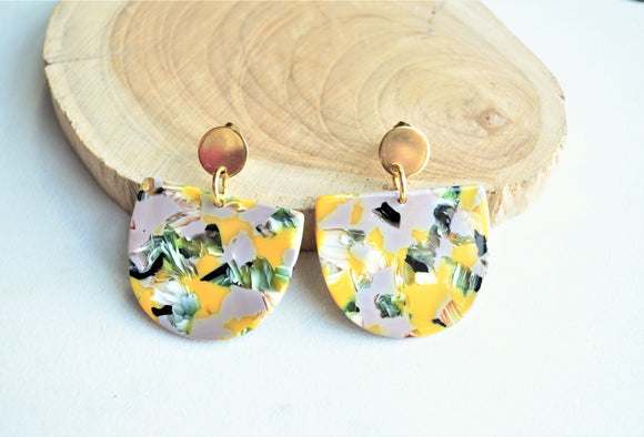 Yellow Gray Statement Earrings Lucite Big Earrings Terrazzo Large Earrings Gift For Her - Nora