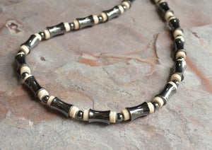 White Gray Necklace, Mens Necklace, Hematite Bead Necklace, Gift For Him - Landon