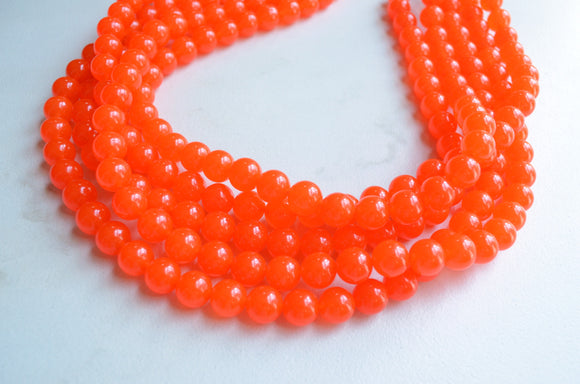 Orange Statement Necklace, Jade Necklace, Chunky Multi Strand Necklace - Alana