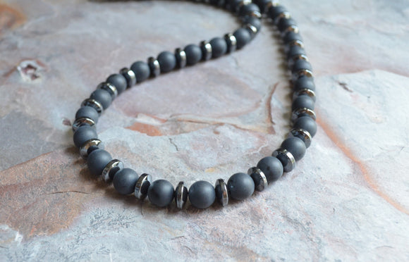 Black Mens Necklace, Beaded Necklace, Hematite Necklace - Jared