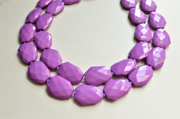 Purple Statement Necklace, Acrylic Chunky Necklace, Lucite Necklace - Jane
