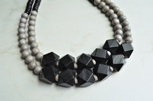 Black Gray Statement Necklace, Wood Bead Necklace, Chunky Necklace - Riley