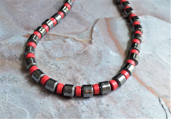 Beaded Mens Necklace, Hematite Red Necklace, Stone Necklace - Samson