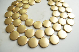 Gold Statement Necklace, Lucite Beaded Necklace, Chunky Necklace - Charlotte