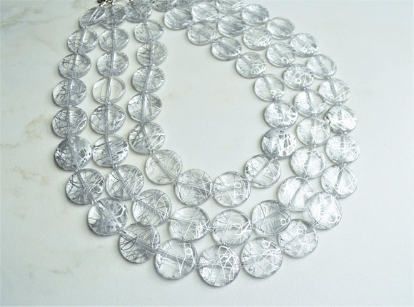 Clear Silver Statement Necklace, Lucite Beaded Necklace, Chunky Necklace - Charlotte