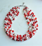 Red Heart Statement Necklace, Valentines Necklace, Crystal Chunky Necklace, Gift For Her - Melissa