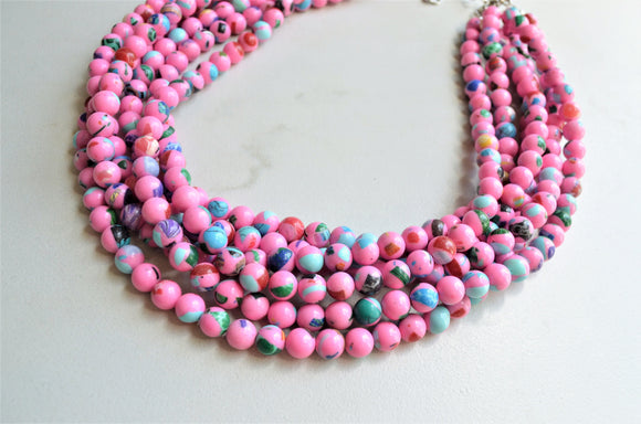 Pink Colorful Chunky Bead Multi Color Statement Necklace - Michelle