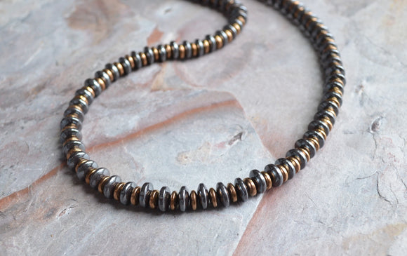 Hematite Copper Beaded Long Mens Necklace - Jack