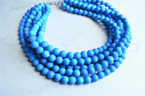 Neon Blue Statement Necklace, Rubber Beaded Necklace, Chunky Necklace, Gift For Her - Alana