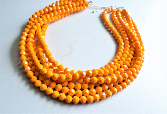 Orange Yellow Glass Statement Necklace - Chunky Beaded Necklace - Ariel