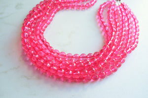 Pink Statement Necklace, Beaded Acrylic Necklace, Chunky Necklace - Angelina