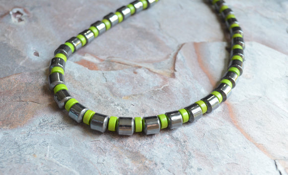 Mens Green Necklace, Bead Necklace, Hematite Necklace - Samson