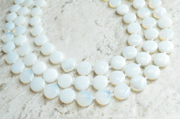 White Statement Necklace, Bead Glass Necklace, Chunky Necklace, Multi Strand - Charlotte