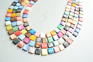 Multi Color Statement Necklace, Beaded Necklace, Shell Necklace, Colorful Chunky Necklace - Tegan