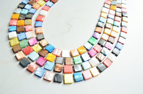 Multi Color Shell Beaded Colorful Chunky Statement Necklace - Tegan