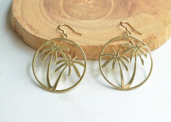 Gold Palm Tree Earrings, Statement Earrings, Silver Palm Earrings, Tropical Jewelry