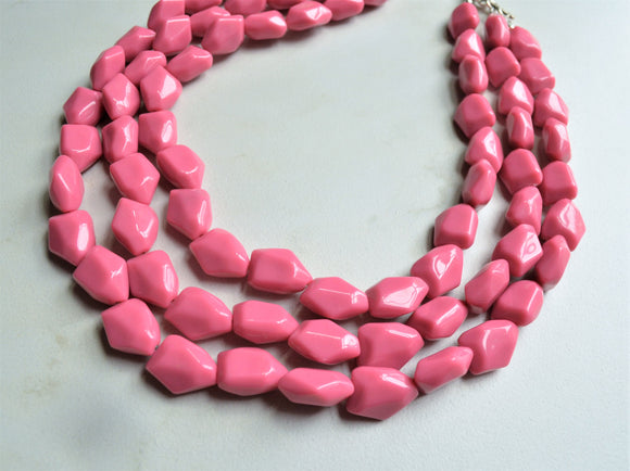 Pink Statement Necklace, Lucite Bead Necklace, Multi Strand Necklace - Lonnie