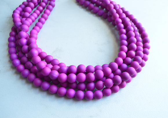 Purple Statement Necklace, Rubber Beaded Necklace, Chunky Necklace, Gift For Her - Alana