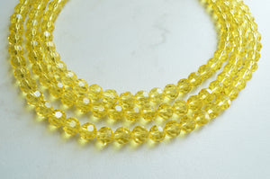 Yellow Glass Necklace, Statement Necklace, Multi Strand, Chunky Necklace - Anna Marie