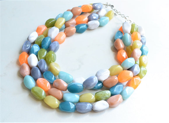 Multi Color Statement Lucite Bead Chunky Acrylic Necklace - Penelope