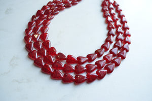 Red Heart Statement Necklace, Glass Bead Necklace, Chunky Necklace
