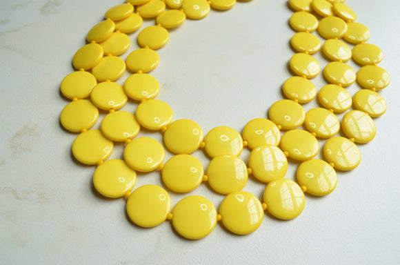 Yellow Statement Necklace, Lucite Beaded Necklace, Chunky Necklace - Charlotte