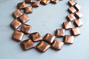 Copper Statement Necklace, Acrylic Bead Necklace, Chunky Metal Necklace - Krista
