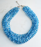 Blue Clear Statement Necklace, Crystal Beaded Necklace, Chunky Necklace, Multi Strand Necklace - Rebecca