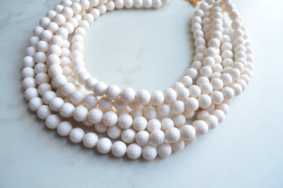 Ivory Statement Necklace, Beaded Acrylic Necklace, Chunky Necklace, Gift For Woman - Angelina