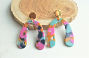 Multi Color Statement Earrings, Terrazzo Acrylic Earrings, Lucite Big Earrings - Lillian