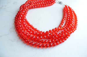 Red Statement Necklace, Beaded Acrylic Necklace, Chunky Necklace, Gift For Her - Angelina