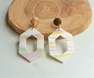White Rainbow Statement Earrings, Pastel Lucite Earrings, Striped Acrylic Earrings, Gift For Her - Janet